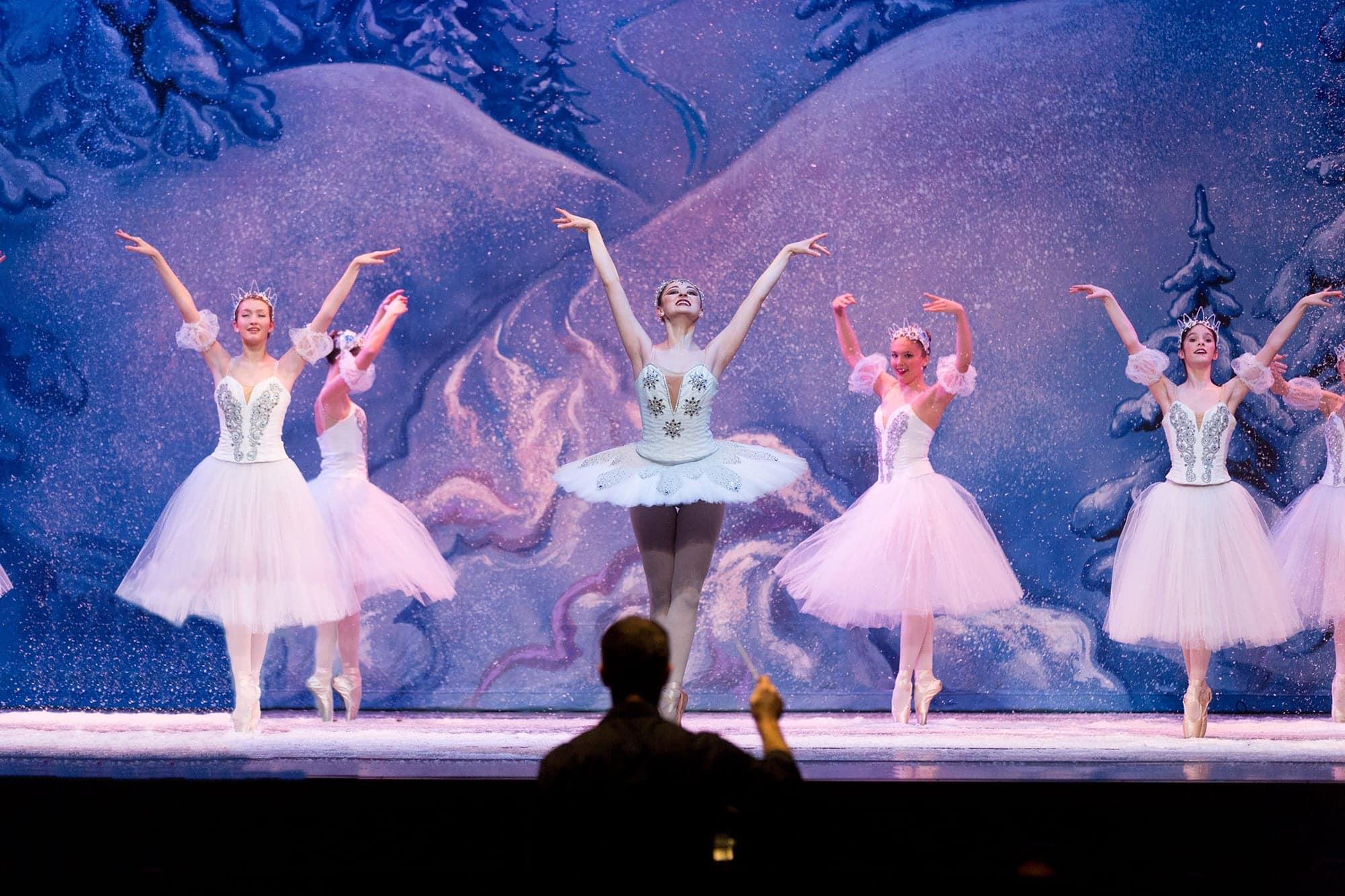 Nutcracker Kansas Ballet snow scene nologo